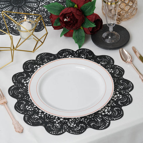 "6 Pack | 15"" Black Vintage Floral Vinyl Placemats 