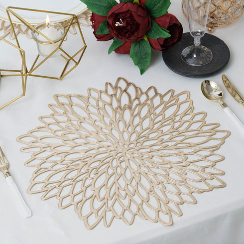 "6 Pack | 15"" Gold Floral Vinyl Placemats 