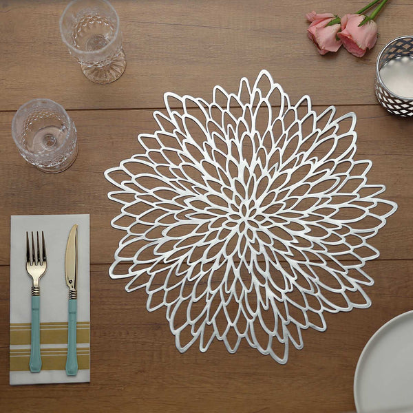 "6 Pack | 15"" Silver Vinyl Floral Placemat 