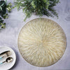 6 Pack | 15 inch Gold Round Vinyl Placemats | Non Slip Dining Table Placemats with Spiked Design
