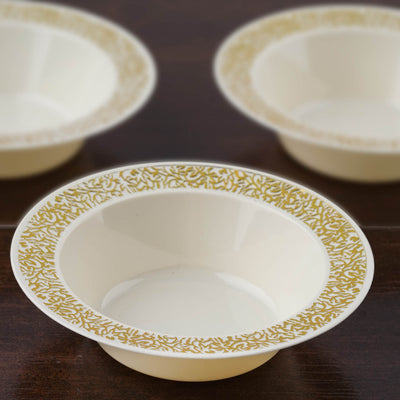 10 Pack Ivory 6oz Plastic Round Disposable Bowl with Gold Lace Design Rim