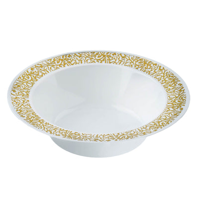 10 Pack White 6oz Plastic Round Disposable Bowl with Gold Lace Design Rim