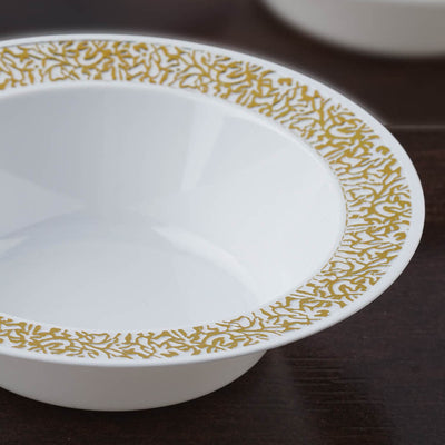 10 Pack White 12oz Plastic Round Disposable Bowl with Gold Lace Design Rim