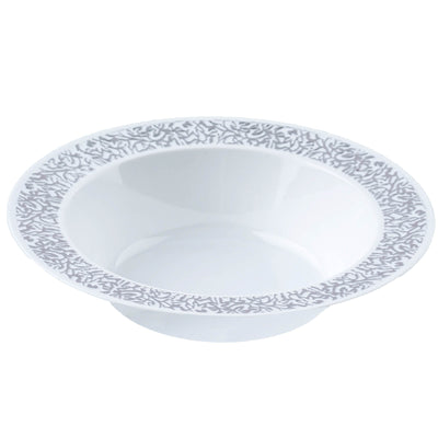 10 Pack White 12oz Plastic Round Disposable Bowl with Silver Lace Design Rim