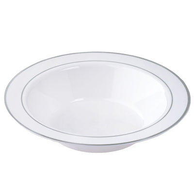 10 Pack White 12oz Plastic Round Disposable Bowl with Silver Rim