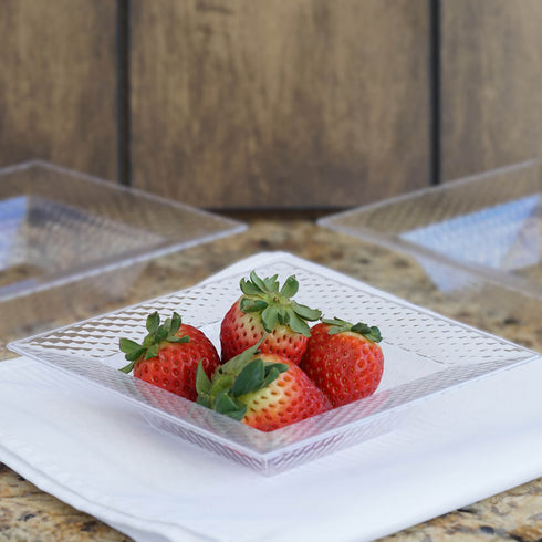 10 Pack Clear 5oz Honeycomb Plastic Square Disposable Bowl