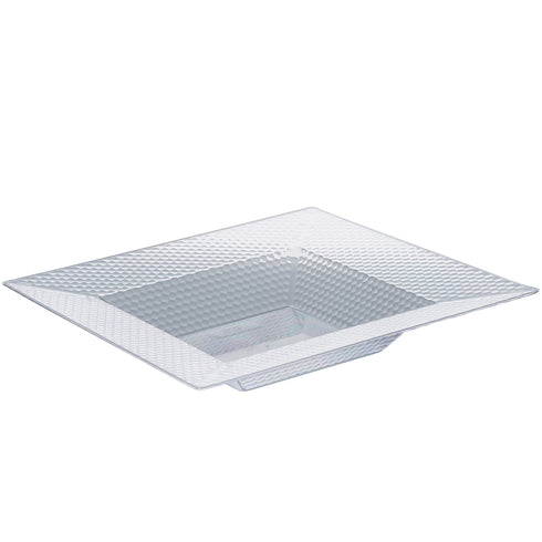 10 Pack Clear 12oz Honeycomb Plastic Square Disposable Bowl