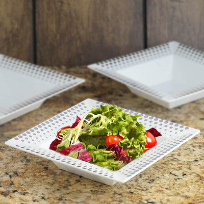 10 Pack White 5oz Plastic Square Disposable Bowl with Silver Hot Dots Rim