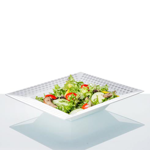 10 Pack White 12oz Plastic Square Disposable Bowl with Silver Hot Dots Rim