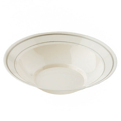 12 Pack Ivory 8oz Plastic Round Disposable Bowl with Antique Gold Rim