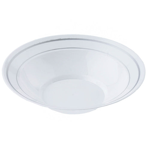 12 Pack White 8oz Plastic Round Disposable Bowl with Antique Silver Rim