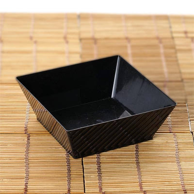 12 Pack - Black Innovative Square 10oz Disposable Bowl