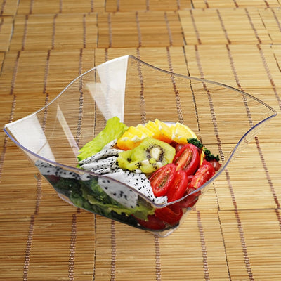 12 Pack Clear 35oz Wave Design Plastic Square Disposable Serving Bowl