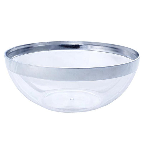 4 Pack Clear 32oz Chambury Plastic Round Disposable Serving Bowl with Silver Rim