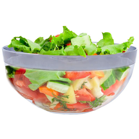 4 Pack Clear 2qt Plastic Round Disposable Bowl with Silver Rim
