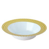 Set of 10 - 12oz White Round Disposable Plastic Bowls with Gold Hot Stamped Rim