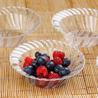 12 Pack Clear 5oz Plastic Flared Round Disposable Bowl