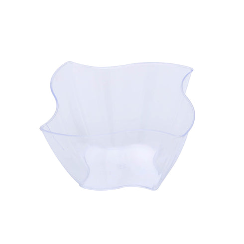 Set of 12 - 4oz Clear Curved Pinwheel Square Disposable Plastic Bowls