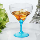6 Pack Blue 5oz Hard Plastic Champagne Wine Toast Goblet