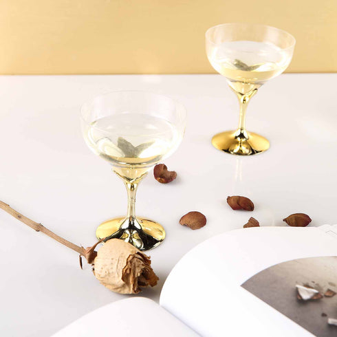 6 Pack Gold 5oz Hard Plastic Champagne Wine Toast Goblet