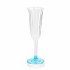 12 Pack Blue 6oz Hard Plastic Champagne Wine Toast Flutes