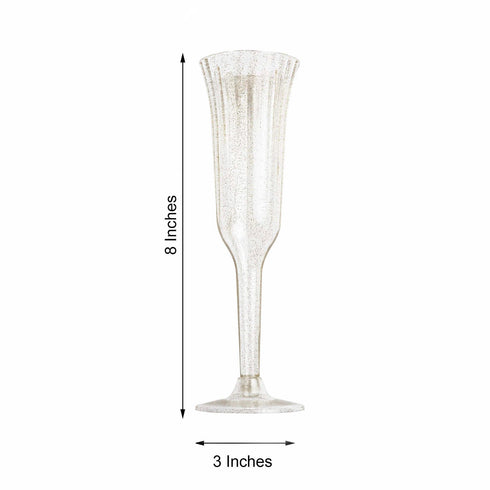 Plastic Champagne Flutes Disposable | 6 oz | 12 Pack | Gold Glitter Sprinkled | Flared Design | Detachable Base