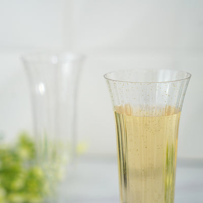12 Pack 6 Oz Gold Glitter Sprinkled Clear Plastic Disposable Champagne Toast Flutes