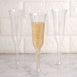 Plastic Champagne Flutes Disposable | 6 oz | 12 Pack | Silver Glitter Sprinkled | Flared Design | Detachable Base