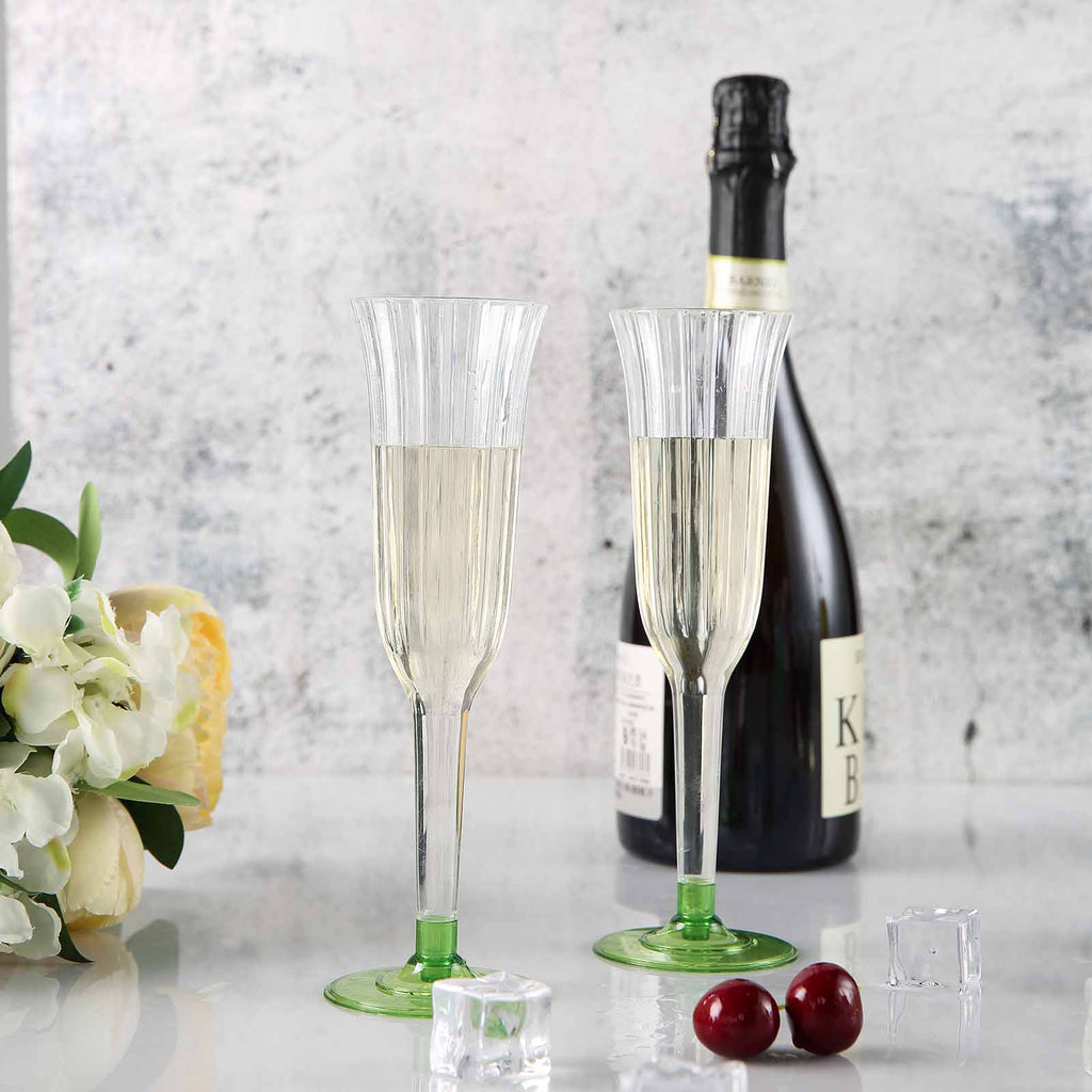 12 Champagne Flutes-Green