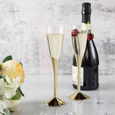 6 Pack Gold 5oz Hard Plastic Champagne Wine Toast Flutes