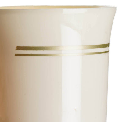 8 Pack - Ivory with Matte Gold 8oz Disposable Coffee Cups - Antique Collection