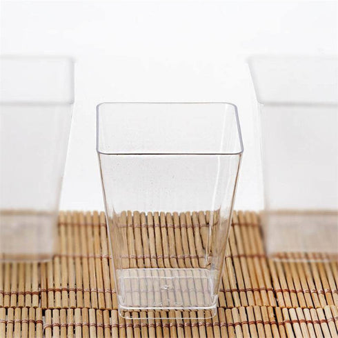 24 Pack - Clear Tantalizing Square 6oz Disposable Tumbler