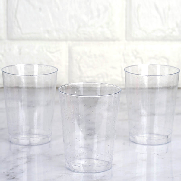 a92859b4e373 25 Pack 10oz Silver Glitter Sprinkled Clear Plastic Disposable Glass Cups