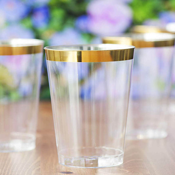 25 Pack | 8 Oz Plastic Glasses Disposable Cups With Gold Rim