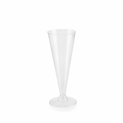 Set of 12 - 7oz CLear Disposable Plastic Champagne Flutes | Trumpet Design | Detachable Base