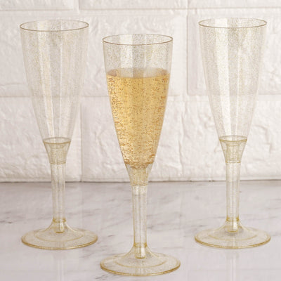 6 Pack 4oz Gold Glittered Clear Plastic Disposable Champagne Toast Flutes