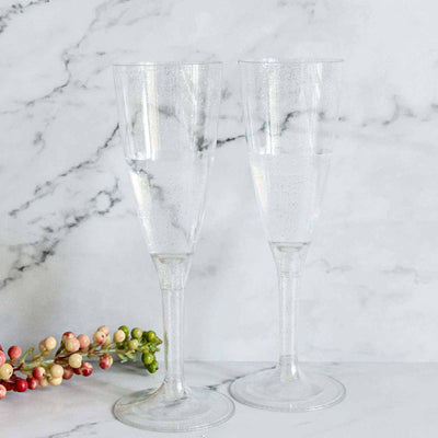 6 Pack 4oz Silver Glittered Clear Plastic Disposable Champagne Toast Flutes