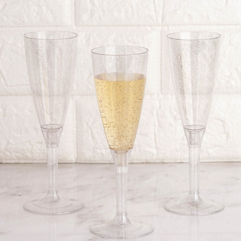 Plastic Champagne Flutes Disposable | 4 oz | 12 Pack | Silver Glitter Sprinkled | Imperial Collection | Detachable Base