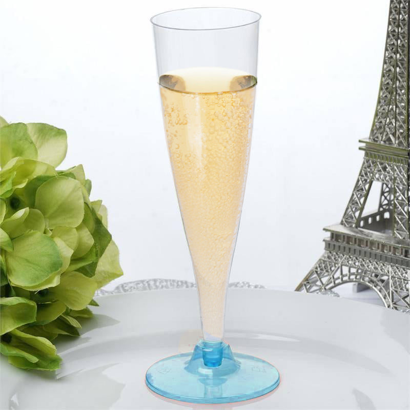 912e670de1f 12 Pack Blue 5oz Trendy Hollow Stem Plastic Disposable Champagne Flutes