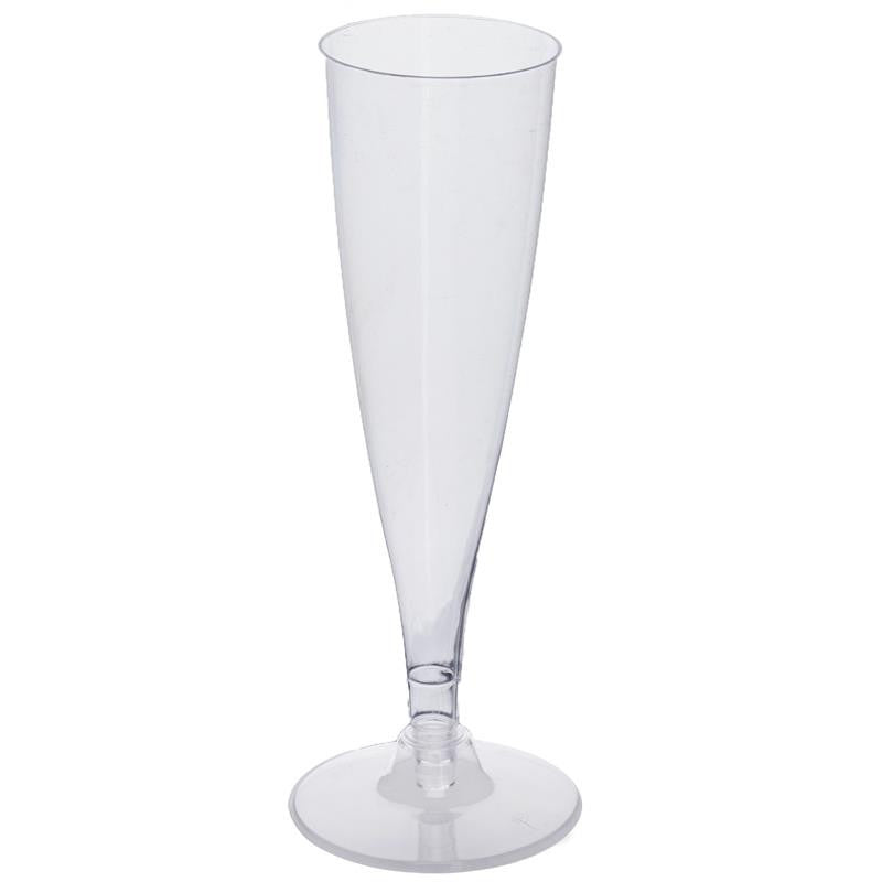 12 Pack - Clear 4.7oz Trendy Hollow Stem Disposable Champagne Flutes