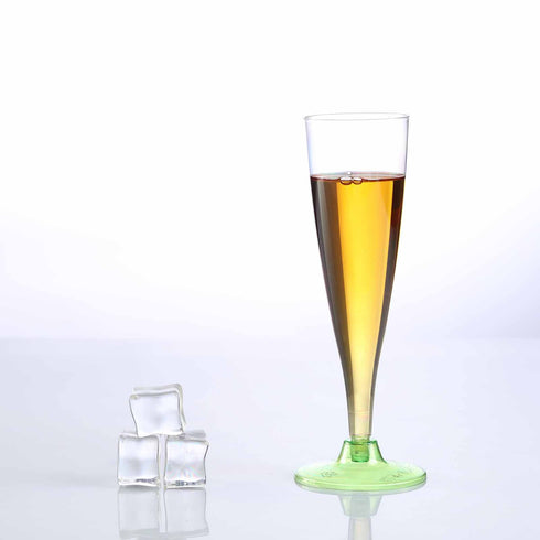 12 Pack - Green 5oz Trendy Hollow Stem Disposable Champagne Flutes
