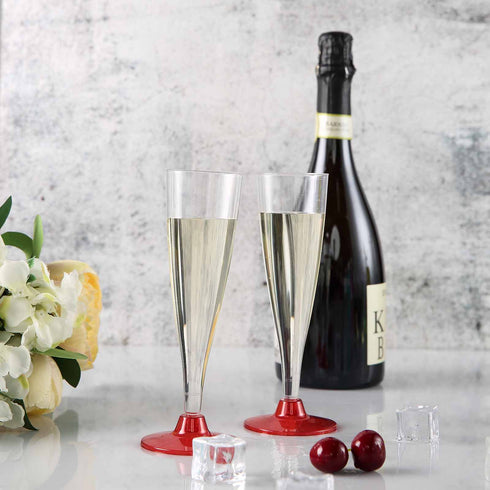12 Pack - Red 5oz Trendy Hollow Stem Disposable Champagne Flutes