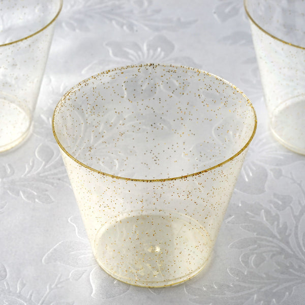 157062b1f801 12 Pack 9oz Gold Plastic Disposable Glittered Glass Cups