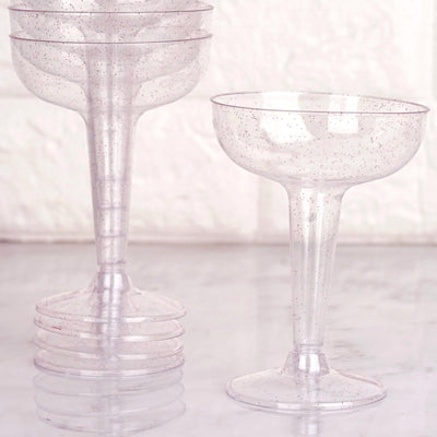 12 Pack 6 oz Blush Glittered Clear Cocktail Disposable Plastic Cups