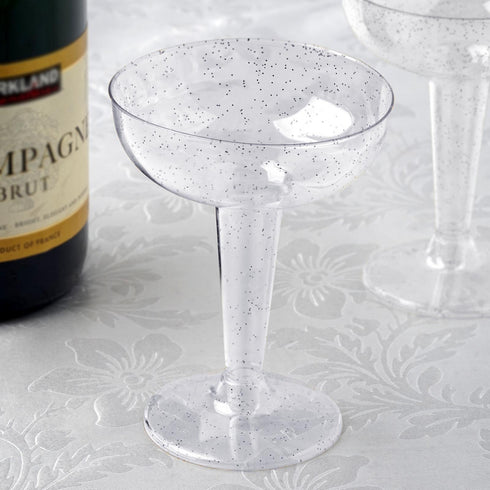 12 Pack 6 oz Silver Glittered Clear Cocktail Disposable Plastic Cups