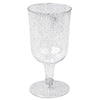 Pack of 12 - 7oz Silver Glittered Clear Disposable Plastic Wine Cups