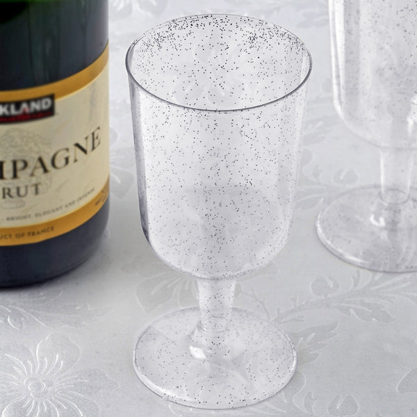 12 Pack - 7oz Silver Glittered Clear Disposable Plastic Wine Cups