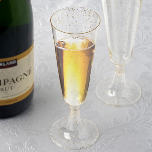 12 Pack 5oz Clear with Gold Glitter Plastic Disposable Champagne Flutes