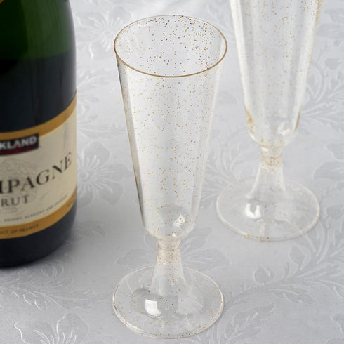 Plastic Champagne Flutes Disposable | 5 oz | 12 Pack | Gold | Glitter Sprinkled Design | Detachable Base