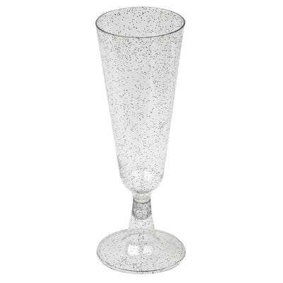 12 Pack 5oz Silver Glittered Clear Champagne Flutes Cocktail Disposable Plastic Glasses